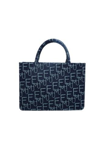 EMO navy Korean fashion Brand‧Handheld‧Denim Pincess Bag (L) - Dark Blue 9F511ACE138E4FGS_1