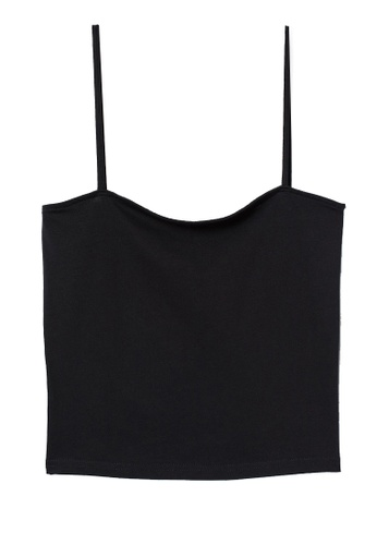 H&M black Cropped Jersey Strappy Top 868D4AA573BD35GS_1