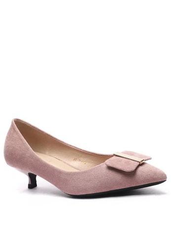 Twenty Eight Shoes 尖頭方扣絨面高踭鞋295-44 752B3SH41258DCGS_1