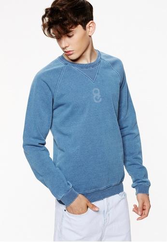 Life8 blue Velvet Long SleevedCrew Neck T-Shirt In Rib-03924-Blue LI283AA0G8F7SG_1