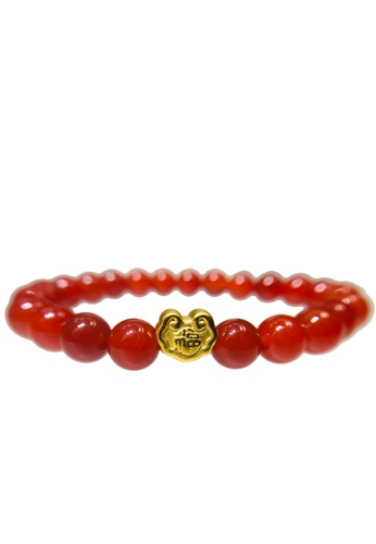 LITZ red and gold [SPECIAL] LITZ 999 (24K) Gold Fortune Lock Charm with free Red Agate Bracelet A0509ACE219A28GS_1