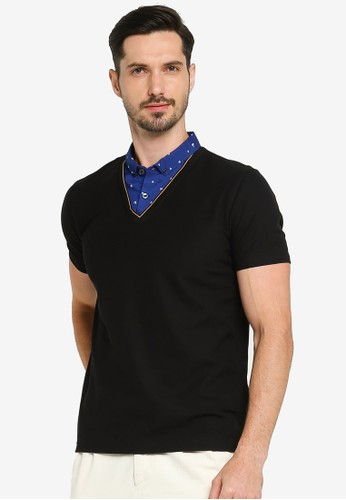 G2000 black Boat Print 2-In-1 Shirt Collar Polo Shirt A3C2AAA57B39E9GS_1