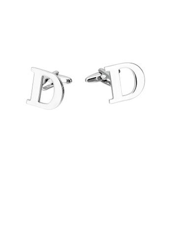 Glamorousky silver Simple Personality English Alphabet D Cufflinks D4F5DAC28C4CB8GS_1