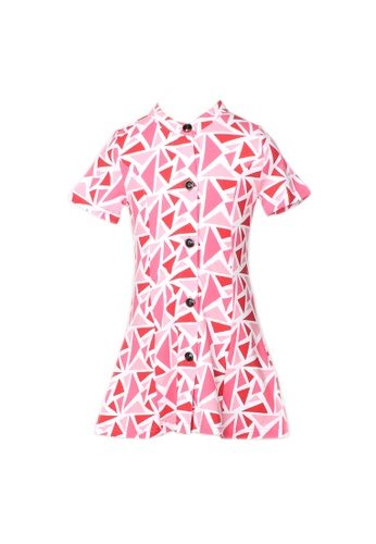 Mini Moley red Geometric Triangles Print Button Down Dress 94029KA983F9A4GS_1