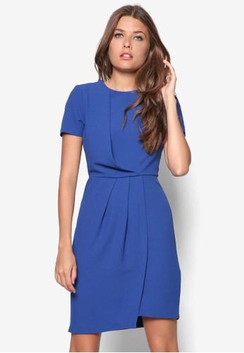褶飾短袖洋裝, 服飾,zalora taiwan 時尚購物網鞋子 正式洋裝