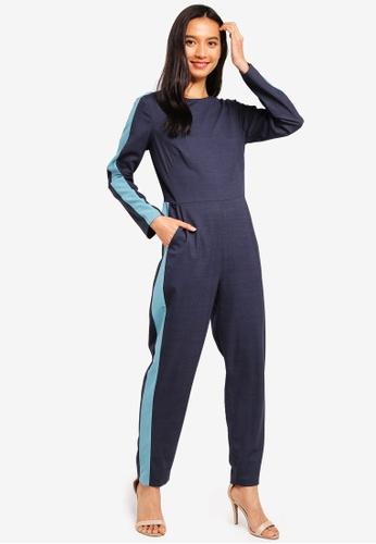 CLOSET 海軍藍色 編織連身褲 E43A8AA1EC1BEAGS_1