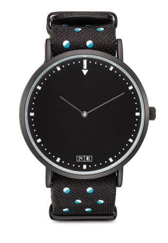 24:01 black and grey and blue Duo Tone Hexagon Interchangeable Watch D887DAC1FF0D7EGS_1