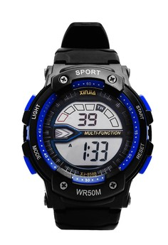 XINJIA Sports Digital Men's Black/Blue Resin Strap Watch 858B