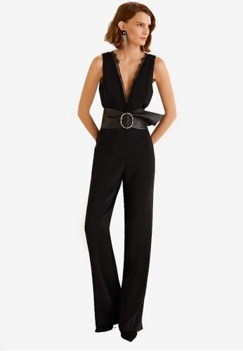 48868d853292 Mango black Lace V-Neckline Jumpsuit 328E7AAD3941C2GS 1