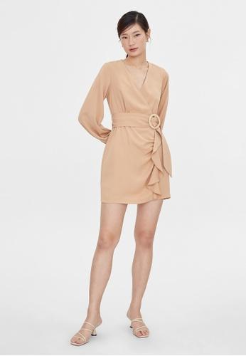 Pomelo brown Ruffled Buckle Belt Dress - Brown F1A3CAAF35D31FGS_1