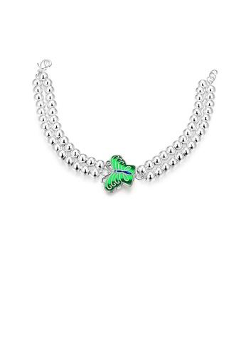 Glamorousky silver Elegant and Fashion Green Butterfly Ball Bead Bracelet E1378AC02D4020GS_1