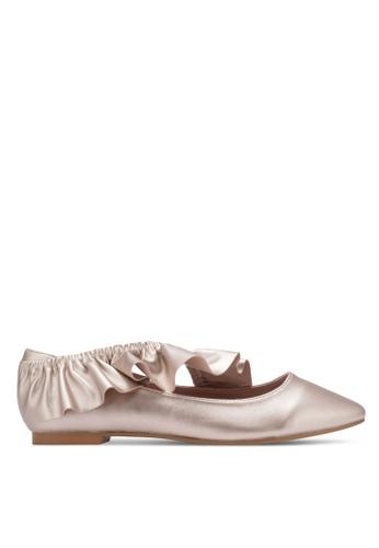 Velvet gold Elastic Frill Pointed Ballerinas 3ADB4ZZ3751A33GS_1