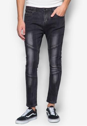 24:01 Knee Paneled Acid Washed Skinny Jeans