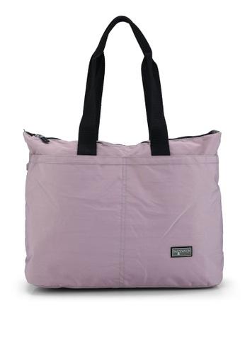 Bagstationz purple Contrast Zip Nylon Tote Bag 7A988AC3ECF000GS_1