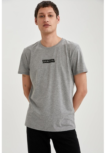 DeFacto grey Short Sleeve Round Neck Printed T-Shirt 97EEAAA139EA9CGS_1