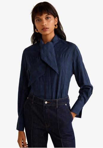Mango blue Bow Neck Shirt 24268AAFCE3CA7GS_1