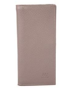 Leather Long Wallet With Snap Button