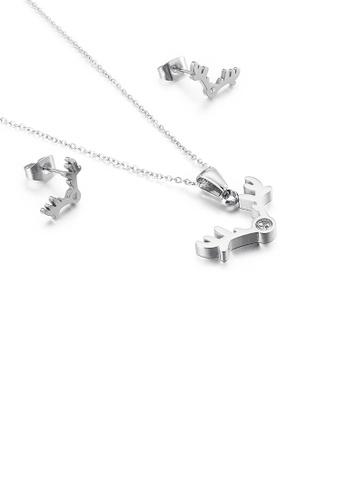 Glamorousky 白色 簡約時尚麋鹿鹿角鋯石316L鋼項鏈和耳釘套裝 A89DDACB384F80GS_1