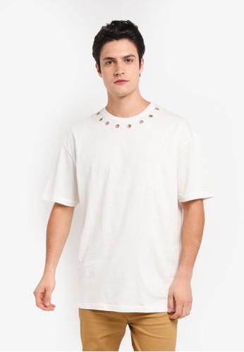 Flesh IMP white Rivet Hole Oversized T-Shirt 54DE2AA1E8A1FBGS_1