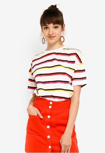 Something Borrowed 白色 Striped Tee Dress 3208BAA7A595FDGS_1