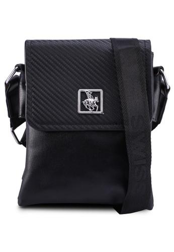 Swiss Polo black Textured Sling Bag B3810ACFF63721GS_1