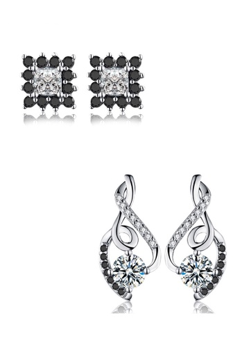 A-Excellence black Premium Elegant Black Silver Earring Set 4ADB9ACEE8F777GS_1