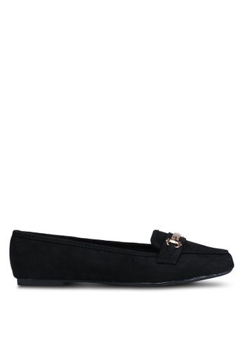 Dorothy Perkins 黑色 Wide Fit Black Microfibre Lair Loafers 802A4SH5C61223GS_1