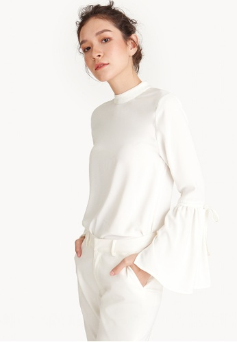 Pomelo white Mock Neck Bell Sleeve Blouse 41465AA1648CD3GS_1