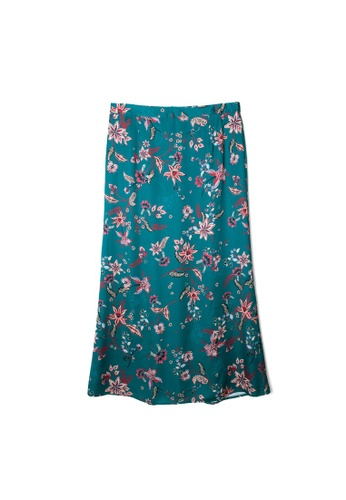 MS. READ green MS. READ Printed Fit & Flare Skirt CED83AA558C79AGS_1