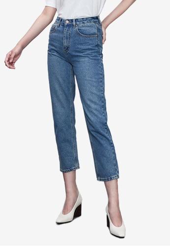 Urban Revivo blue Crop Mom Jeans F2233AA2892D10GS_1