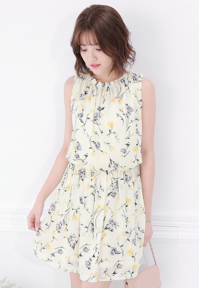 Floral Dress with Back Tie
