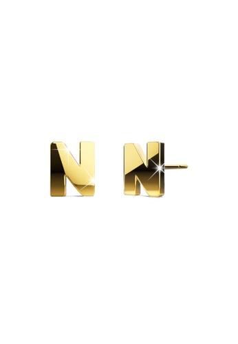 Bullion Gold gold BULLION GOLD Dainty Alphabet Letter Earring Gold Layered Steel Jewellery - N 950A4AC843347CGS_1