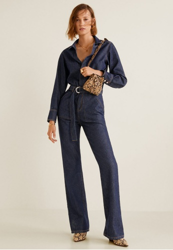 a757bef256c Buy Mango Belt Denim Jumpsuit Online
