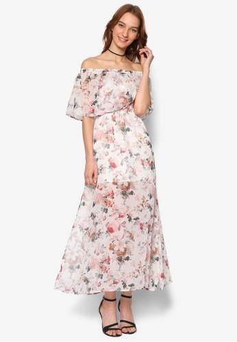 Emmett 露肩esprit 品牌荷葉層次印花連身長裙, 服飾, 洋裝