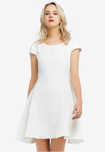 Hopeshow white Plain Short Sleeve Dress E91F6AADBCA4AEGS_1