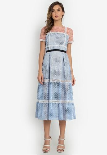 NOBASIC blue Color Block Crochet Tent Dress E9EB3AA57C906BGS_1
