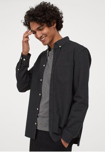 H&M grey Regular Fit Oxford shirt 3A1B1AA230E92AGS_1