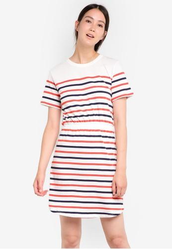 WAREHOUSE white Engineered Stripe Dress WA653AA84DAPMY_1