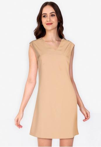 ZALORA WORK brown V Neck Shift Dress 17B7AAAD2721B7GS_1