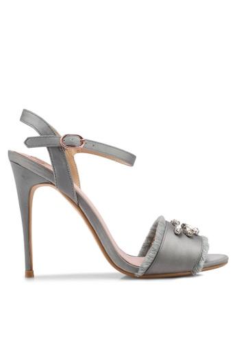 Velvet 灰色 Embellished Frills High Heels 33386SHE95219FGS_1