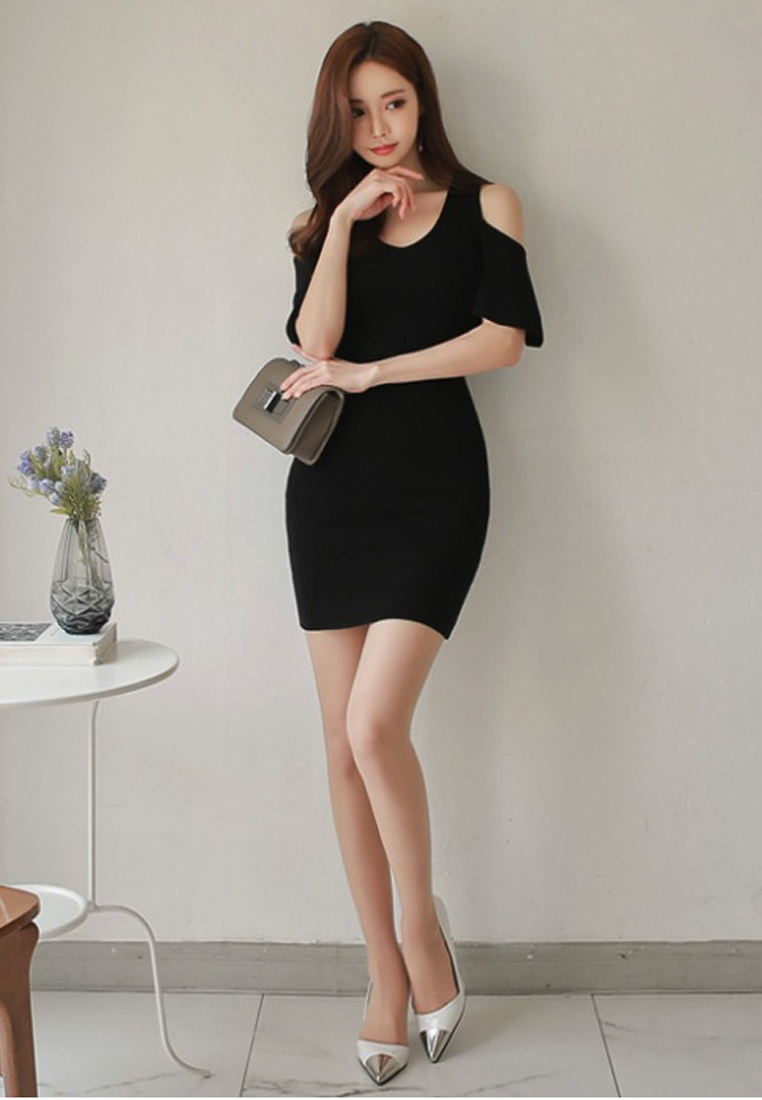 Black Off dress A060426 One Black Sunnydaysweety 2018 New Repair Shoulder Waist Piece O1nwnZ5Iqx