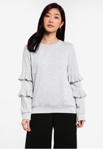 Dorothy Perkins grey Grey Ruffle Sleeve Sweater DO816AA0RQUXMY_1