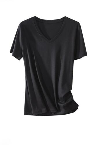 Twenty Eight Shoes black VANSA V-neck Mercerized Cotton Short-sleeved T-Shirt VCW-Ts1902V 9E27DAA1120612GS_1