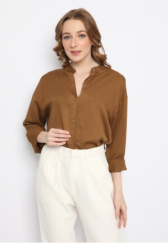 Mannequin brown Flowy Rayon Overshirt 8C175AADBD2FC8GS_1