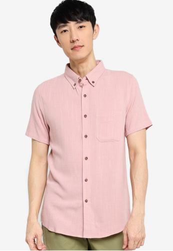 ZALORA BASICS pink Short Sleeve Linen Blend Shirt F2965AA44D6D12GS_1