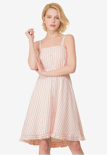 Kodz pink Square Neckline Textured Dress 9EF9CAA24DF14FGS_1