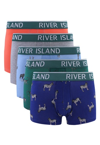 River Island blue Safari Hipsters Trunks 5PP 2E669US8117F50GS_1