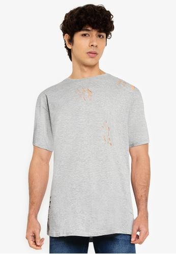 Brave Soul 灰色 Distressed Long Line T-Shirt FF8B1AA9B896B2GS_1