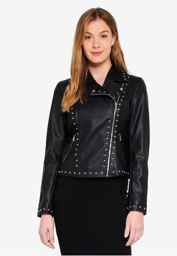 GUESS 黑色 Vina Studded Moto Leather Jacket C3ED9AAB74E823GS_1