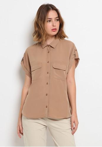 The Executive brown Short Sleeve Blouse 991E2AA1DD9D34GS_1